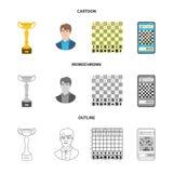Objeto isolado do checkmate e do sinal fino Ajuste da ilustra??o do vetor do estoque do checkmate e do alvo ilustração royalty free