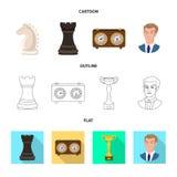 Objeto isolado do checkmate e do sinal fino Coleção do ícone do vetor do checkmate e do alvo para o estoque ilustração do vetor