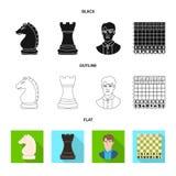 Objeto isolado do checkmate e do sinal fino Coleção da ilustração do vetor do estoque do checkmate e do alvo ilustração do vetor