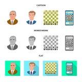 Objeto isolado do checkmate e do sinal fino Coleção da ilustração do vetor do estoque do checkmate e do alvo ilustração royalty free