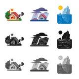 Objeto isolado do logotipo natural e do desastre Coleção do símbolo de ações natural e do risco para a Web ilustração stock