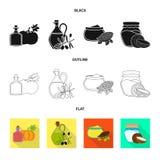 Objeto isolado do logotipo saudável e vegetal Ajuste do ícone saudável e da agricultura do vetor para o estoque ilustração stock