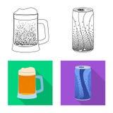 Objeto isolado do símbolo da bebida e da barra Grupo de ícone do vetor da bebida e do partido para o estoque ilustração stock