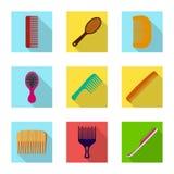 Objeto isolado do sinal da escova e do cabelo Grupo de símbolo de ações da escova e da escova de cabelo para a Web ilustração royalty free
