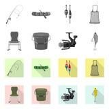Objeto isolado dos peixes e do logotipo da pesca Coleção do símbolo de ações dos peixes e do equipamento para a Web ilustração royalty free