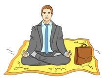 Objeto isolado no fundo branco, cor do verão Homem de negócios no tapete, meditação o homem voa para trabalhar imitation ilustração stock