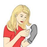 Objeto isolado no ponto branco do fundo O jovem, a menina costura peúgas pretas dos homens com uma agulha e uma linha imitation ilustração do vetor