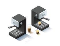 Objeto isométrico da máquina do café do vetor Fotografia de Stock Royalty Free