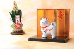 Objeto japonés del perro del Año Nuevo en el papel tradicional Imagenes de archivo