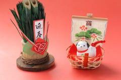 Objeto japonés del perro del Año Nuevo en rojo Fotografía de archivo
