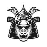 Objeto japonês tradicional do vetor da máscara do samurai imagem de stock royalty free