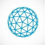 Objeto poli azul do vetor dimensional baixo, forma do trigonometria Elemento esférico da tecnologia 3d feito com facetas triangul ilustração royalty free