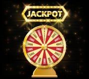 Objeto realístico da roda 3d da fortuna do ouro no fundo escuro com texto do jackpot vetor afortunado da roda e da fortuna ilustração do vetor