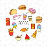 Objeto y fondo lindos del garabato de la comida stock de ilustración