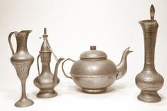 Objetos árabes antiguos de un servicio de té 02 Imágenes de archivo libres de regalías