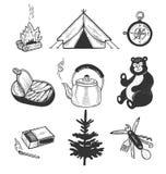 Objetos úteis para a caminhada indo isolados no fundo branco ilustração royalty free