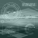 Objetos abstractos del contorno de la tecnología Presentación financiera del negocio Concepto futurista ligero, verde claro digit Imágenes de archivo libres de regalías