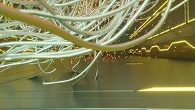 Objetos abstractos futuristas con formas de las ascuas que brillan intensamente y de la ciencia ficci?n de las formas abstractas  stock de ilustración