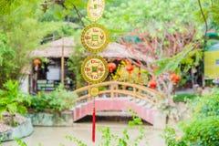 Objetos afortunados lunares de la decoración del Año Nuevo las palabras significan recuerdos y la buena suerte por el Año Nuevo v Fotografía de archivo libre de regalías