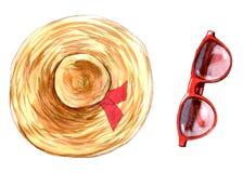 Objetos aislados coloridos de los vidrios del sombrero y de sol del ejemplo de la moda de la acuarela en el fondo blanco para el  ilustración del vector