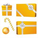 Objetos amarillos de la Navidad Imágenes de archivo libres de regalías
