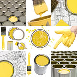 Objetos amarillos de la pintura Imagenes de archivo