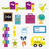 Objetos animados para la escuela Imagen de archivo libre de regalías