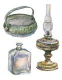 Objetos antigos Isolado no branco ilustração stock