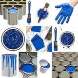 Objetos azules de la pintura Fotos de archivo