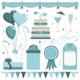 Objetos azules del partido Imagen de archivo