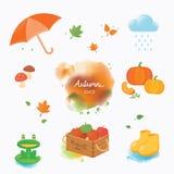 Objetos coloridos do outono em estilos da cor de água Fotografia de Stock Royalty Free