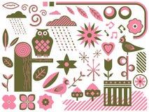 Objetos cor-de-rosa e verdes ilustração royalty free