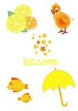 Objetos da cor amarela Foto de Stock Royalty Free