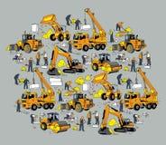 Objetos da cor do trabalhador e do equipamento de construção civil Fotografia de Stock Royalty Free