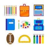 Objetos da escola sobre o branco Imagem de Stock Royalty Free