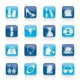 Objetos da forma e ícones fêmeas dos acessórios Fotografia de Stock