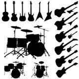 Objetos da música ajustados Fotografia de Stock Royalty Free