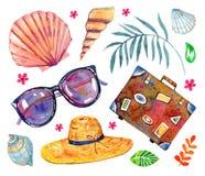 Objetos da praia do ver?o Escudos, vidros, chap?u, mala de viagem Ilustra??o tirada m?o da aguarela ilustração royalty free