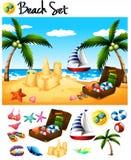 Objetos da praia e cena do oceano Foto de Stock