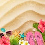 Objetos da praia na areia Vetor ilustração do vetor