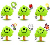 Objetos da terra arrendada da árvore dos desenhos animados Fotografia de Stock Royalty Free