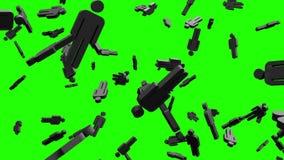 Objetos dados forma humanos pretos na chave verde do croma ilustração do vetor