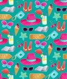 Objetos das férias Símbolos do verão dos desenhos animados ilustração stock
