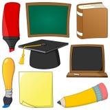 Objetos das fontes de escola dos desenhos animados ajustados Fotografia de Stock Royalty Free