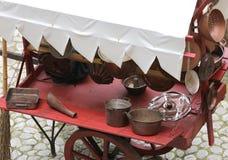 objetos de cobre para la cocina Fotografía de archivo libre de regalías