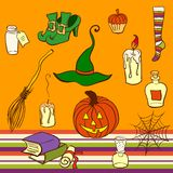 Objetos de Halloween del vector fijados Imágenes de archivo libres de regalías