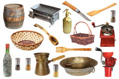 Objetos de la cocina del vintage Imágenes de archivo libres de regalías