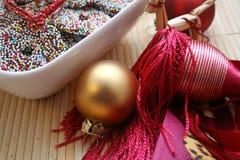 Objetos de la decoración de la Navidad Fotografía de archivo