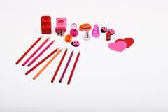 Objetos de la disposición aislados en el tema - día del ` s de la tarjeta del día de San Valentín Foto de archivo