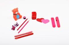 Objetos de la disposición aislados en el tema - día del ` s de la tarjeta del día de San Valentín Fotografía de archivo libre de regalías